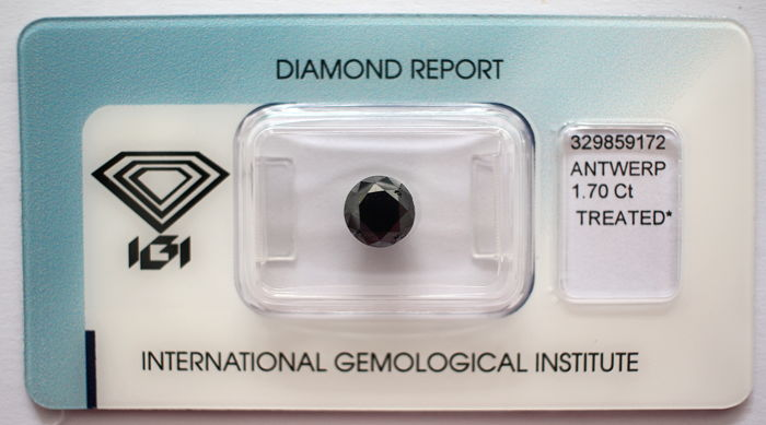 Black Diamond 1.70 ct with IGI certificate***No minimum price***