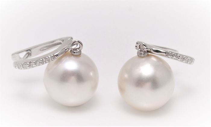 Classy 11x12mm Australian South Sea Pearls Crafted in 18K White Gold and 0.18Ct Diamonds - No Reserve Price