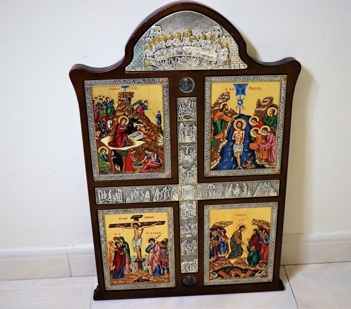 Sacred art - Altarpiece in wood with gold-plated pure 925 silver icons