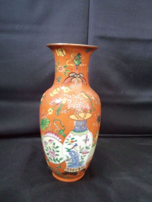 Rare Porcelain Revitex Vase Portugal Colonial In Chinese Style