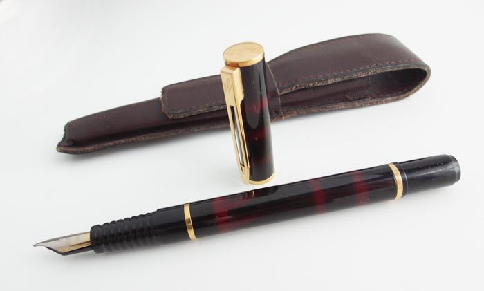 Waterman: deep dark red fountain pen with leather case