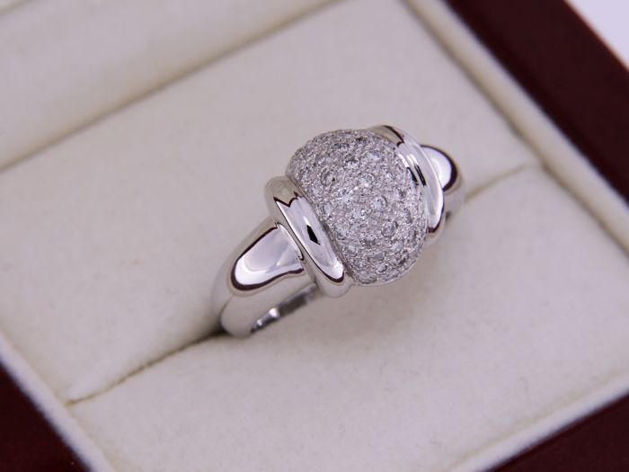 Ring - 18 kt white gold and diamonds - size 53