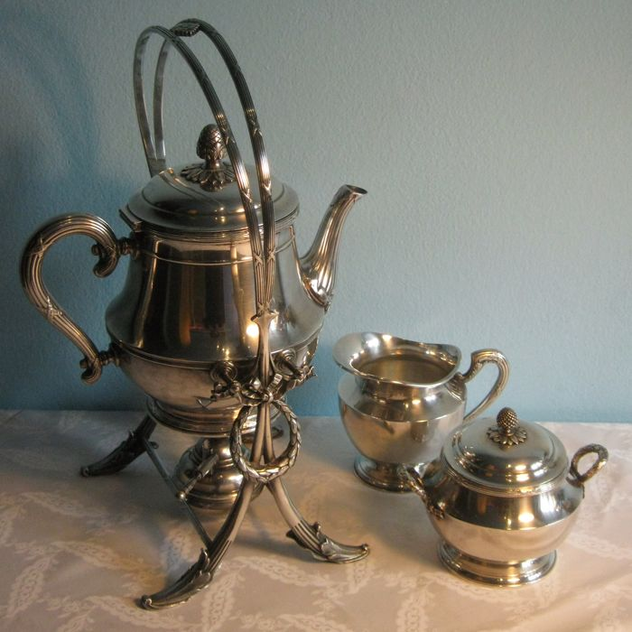 Christofle - Set Tilting teapot, stand, burner, milk jug,sugar bowl - Silver plated