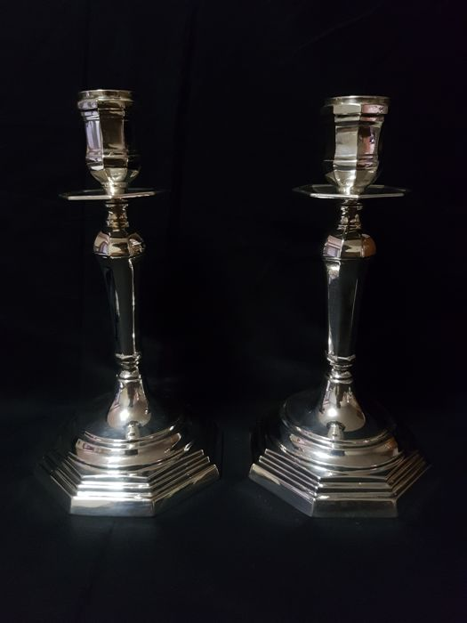 Pair of candlesticks in Empire style, Florence, 20th century