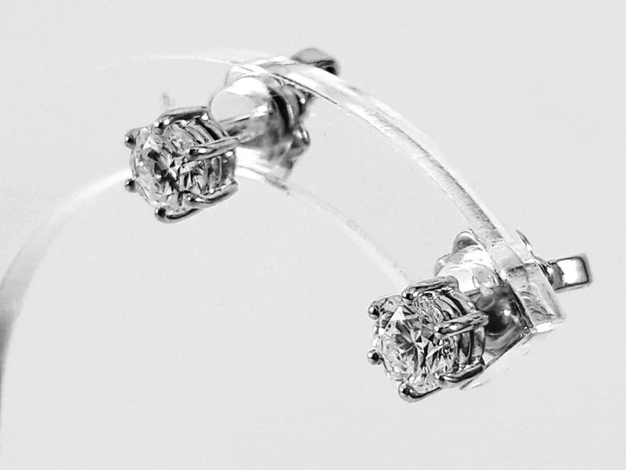18 quilates Oro blanco - Pendientes - 0.82 ct Diamante