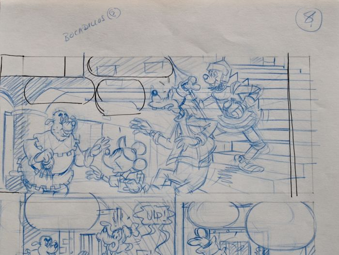Micky Mouse + Goofy - Disney- - Original Comic Layout Production Artwork - Página solta - Other - (1985/1985)