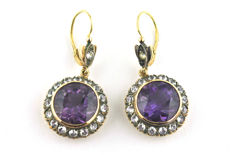 Exclusive Handmade Authentic Antique 1900's Amethyst & Sapphire Earrings made of 18k Gold & silver fastenings