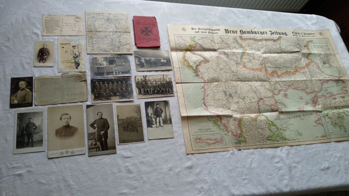 German Empire; lot of 17 pieces, c. 1900-1916, map, collected edition of post cards, post cards, field post, First World War