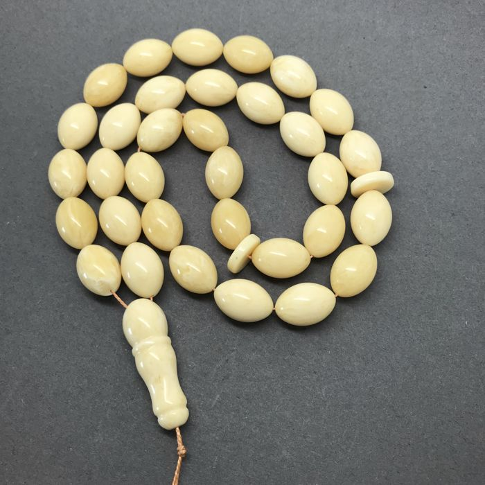Islam rosary tesbih of 33 prayer beads - Baltic amber olives 11x17mm, 48 grams - no reserve