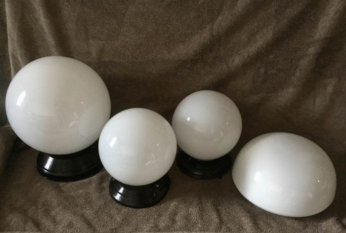 Nice lot of 4 vintage ceiling lamps in globe shape, ideal Loft Deco