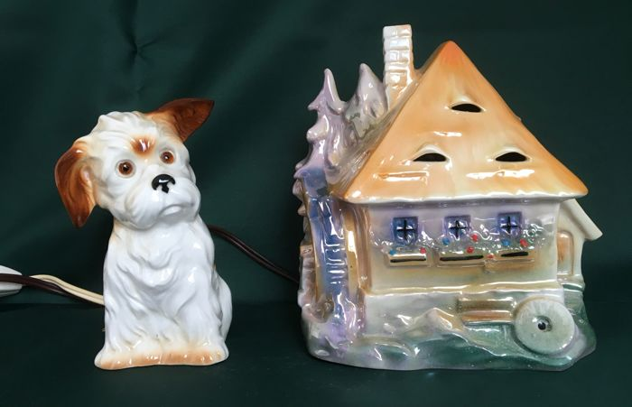 Two original porcelain perfume lamps - dog and water mill