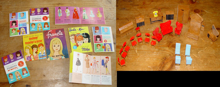 9 Small catalogue booklets of Barbie - Mattel and 24 doll house furniture pieces