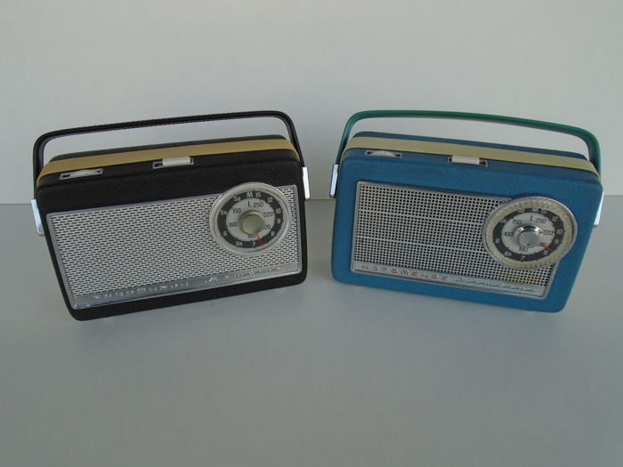 2 Portable radios by Nord Mende Type Mambino Germany 1962