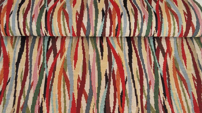 4.00 x 1.40 meters !!! fantastic gobelin fabric with thousand stripes pattern - Cotton, Resin/Polyester - Second half 20th century