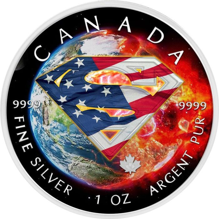 "Canada - 5 Dollar 2016 - Superman ""Earth US Flag"" - 1 oz - Zilver"
