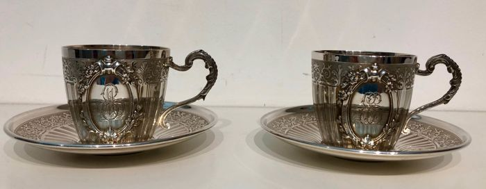 Soufflot Henri silversmith - pair of silver cups - France - 1880-1910