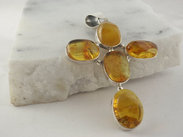 Silver Sterling pendant krucyfiks  with  Baltic Amber 31,28g