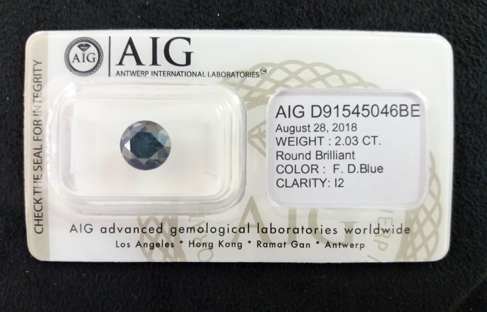 2,03 ct Fancy Deep Blue brilliant P2 NO RESERVE PRICE