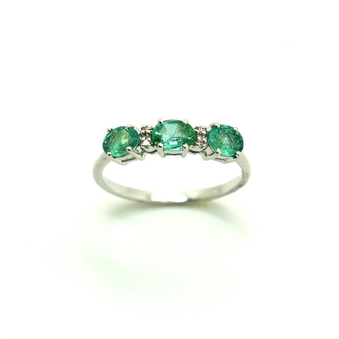 18 kt. White gold - Ring - 0.50 ct Emerald - Diamond