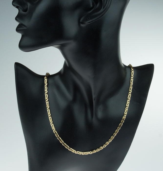 Sturdy 14 kt gold women's necklace - solid link - 46 cm