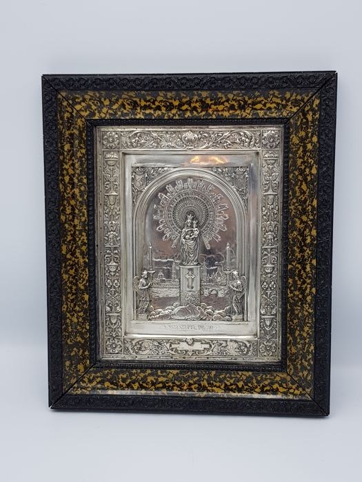 Beautiful Silver Icon Holy Madonna Spain ca.: 1900