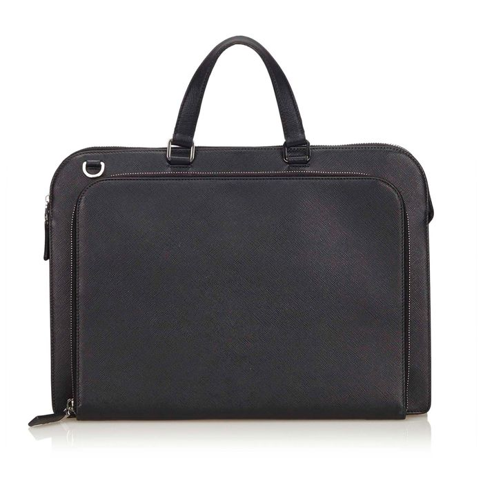 160683a1a662 Prada - Leather Saffiano Briefcase - Catawiki