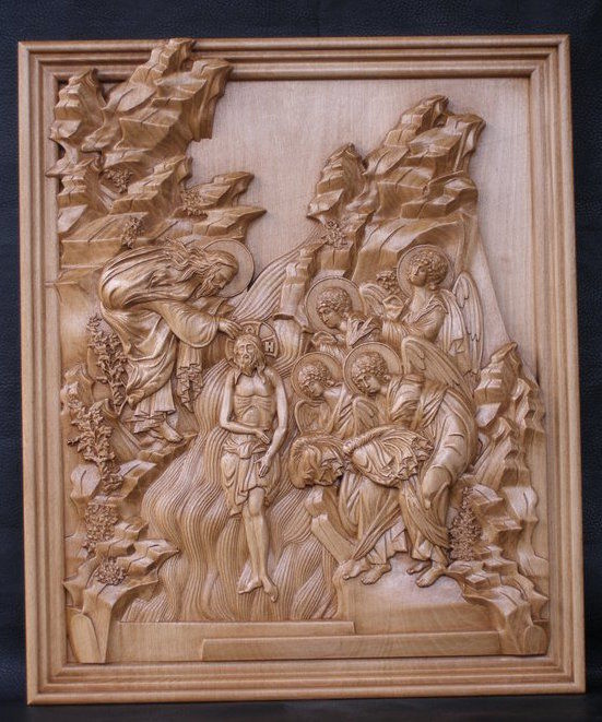 """Baptism of Jesus Christ"" - Orthodox Wood Carved icon - very high quality - 20th - 21th century"