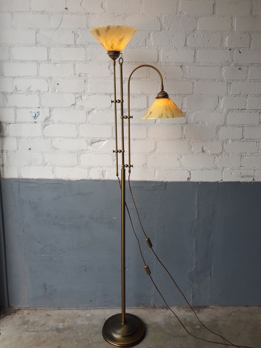 Brass floor lamp with 2 beautifully decorated glass shades