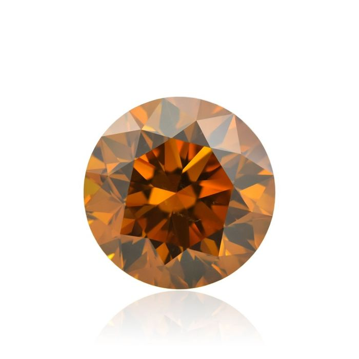 1 pcs Diamant - 0.51 ct - Briljant - fancy deep brownish yellowish orange - VS2