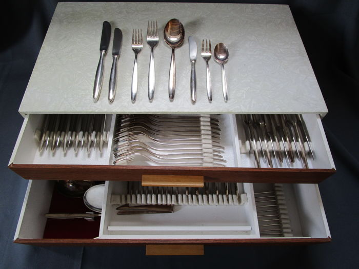 OKA: OTTO KALTENBACH Württemberg - Germany - Manufacturer's mark - 100 silver-plated cutlery set - 103 pieces / 12 people - 1950s/1960s - In cutlery box