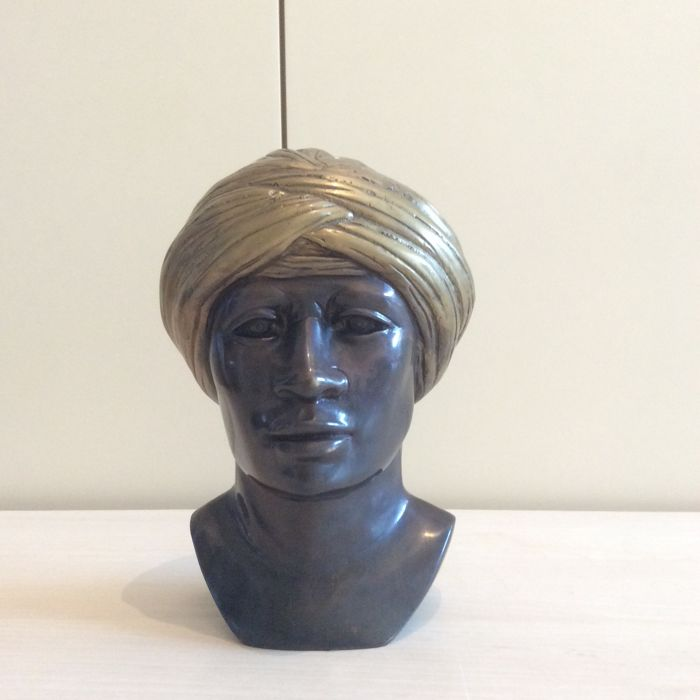 Orientalist signed bust bronze sculpture - 20th century