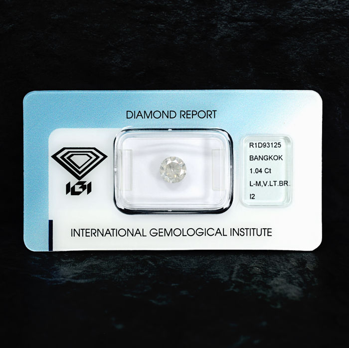 Diamond - 1.04 ct, L-M / I2 - NO RESERVE PRICE