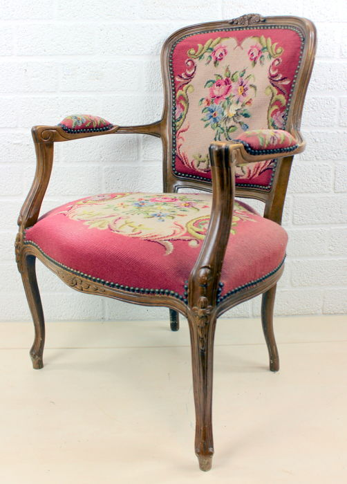"""""""Petit Point"""" seat in wood with embroidered trim, Belgium, 1950s"""