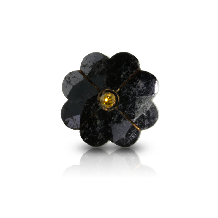 5.70 ct. Treated Black Flower Shape Diamond with Inscription in Golden.