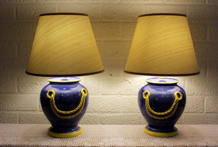 Pair Of Blue Ceramic Table Lamps With Yellow Borders And Fabric