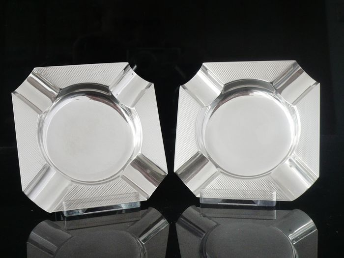 Pair of Silver Ashtrays, Birmingham 1951, D Bros