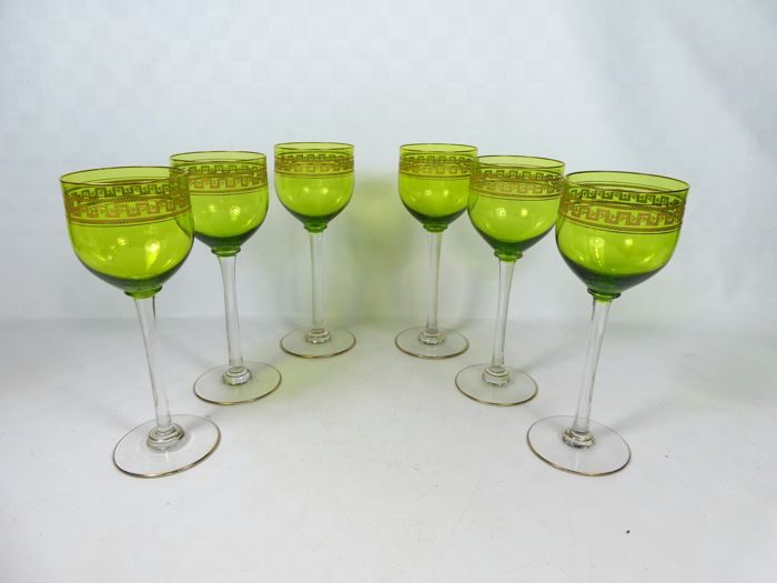 6 Fine Green Crystal Wine Glasses With Gold Decorations Catawiki