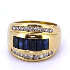 Cocktail ring gold 18 kt with brilliants and sapphires 0.60 ct
