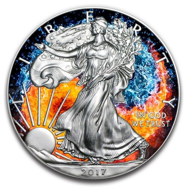 VS - 1 Dollar 2017 American Eagle 'Fire and Water Yin Yang'  - Zilver