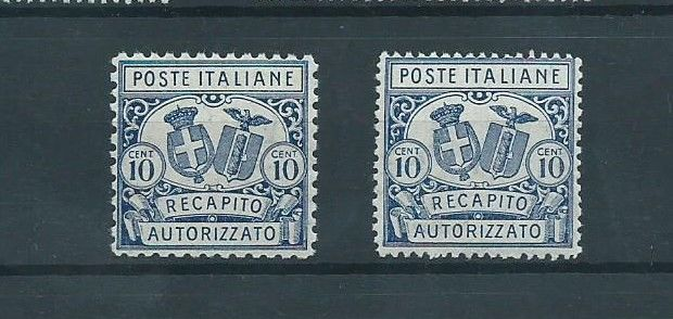 Italy 1922 - Authorized consignment, 11 and 14 indentation, MNH - Sassone 1, 2.