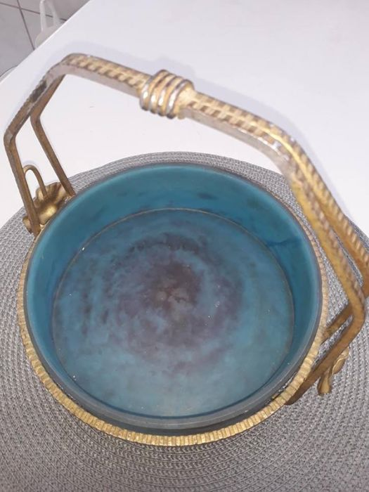 Lorrain - Glass fruit bowl with its bronze/brass basket mount