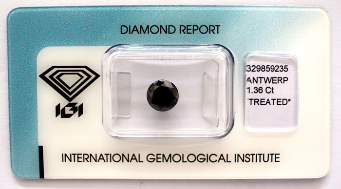 Black diamond 1.36 ct with IGI certificate ***No minimum price**