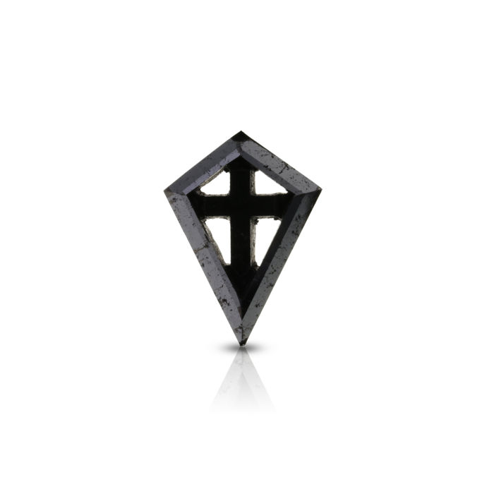 9.23 ct. Treated Black Kite Shape Diamond with Golden Inscription.