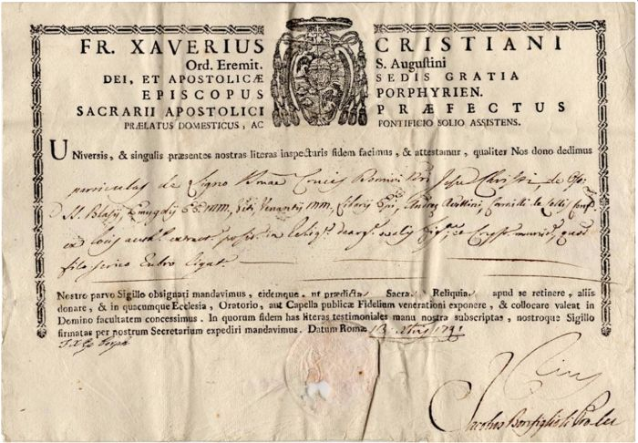 Antonio Martini Archbishop of Florence / Saverio Cristiani Bishop - Autographs; Certificate of Relic - 1791