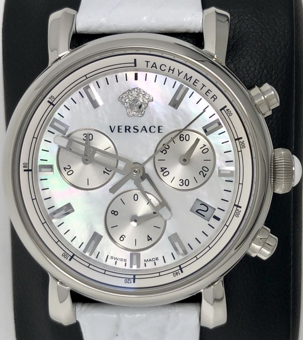 Versace - Day Glam 38 mm White Mother of Pearl Leather Strap - VLB010014 - Dames - New