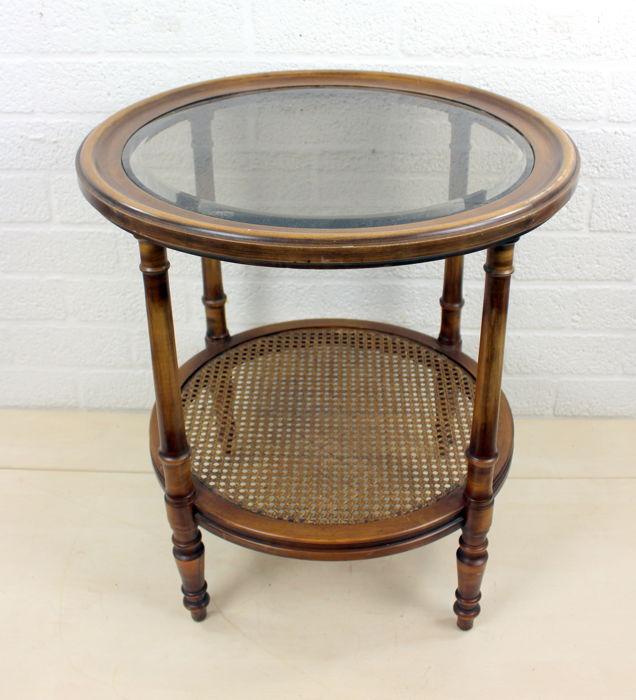 The Hague The Pander Furniture Factory   Side Table With Cut Glass Plate  And Rush Whatnot