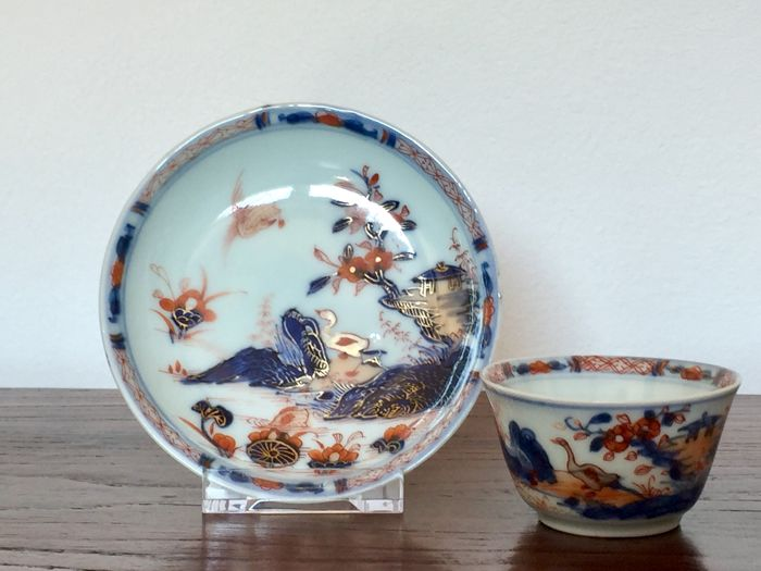 "Chinese porcelain cup and saucer ""geese"" - China - first half 18th. Century."