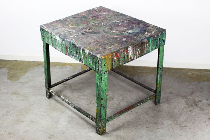 Retro Vintage Design Industrial Studio Table Going As Side Table, With A  Colourful Oil Paint