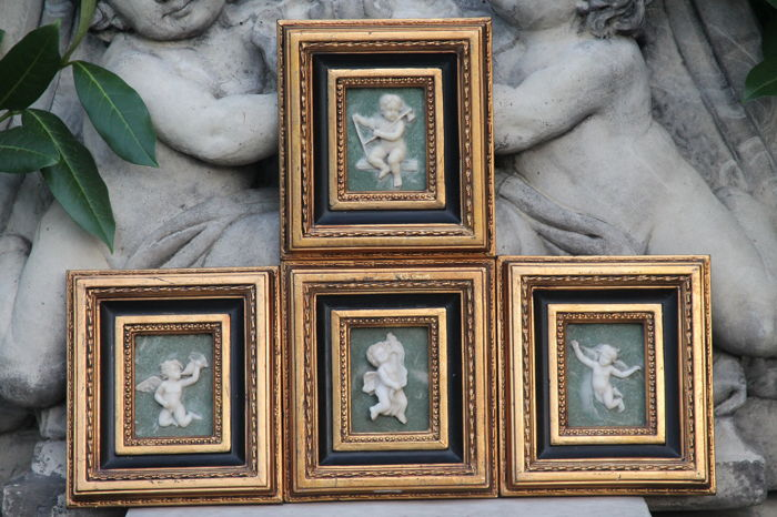 Alabaster paintings of angels, set of four in gold-plated baroque frame, 20th century, late 20th century