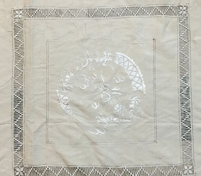19th Century - Chinese Dragon Bedspread, Silk Embroidered, Hand Crouched